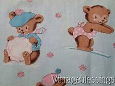 Adorable Vintage 50s Baby Bears Cotton Fabric ~Childrens Novelty