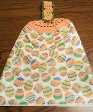Double Sided Crocheted Top Colorful Easter Egg Dish Hanging Towel