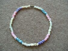 Shell Chip Necklace Multi-coloured Pastel Shades 17 inches Screw fastening