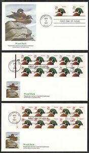 1986 Wood Ducks Sc 2484e 2485a booklets, red & black, Fleetwood