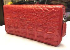 GENUINE CROCODILE WALLETS SKIN LEATHER BONE ZIPPER WOMEN'S RED CLUTCH BAGS
