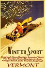 Vermont Winter Sport Snow Mountain Sledding Fun Vintage Poster Repro FREE S/H