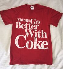 Red Coca Cola THINGS GO BETTER WITH COKE distressed Slogan Unisex TEE Small S