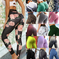 Women Scrunch Pocket Yoga Pants Anti Cellulite Push Up Leggings Sports Trousers