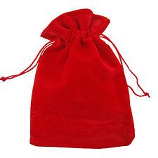 10 Red Velvet Jewellery Drawstring Gift Pouches 10cm x 13cm