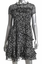 FRENCH CONNECTION Womens Sz 6 Daisy Rave Ruffle Dress Black White Floral Ligth