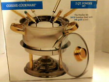 Cuisine Cookware 2 Qt Fondue Set/ 18/10 Stainless Steel with 24K Gold Accent