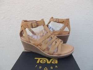 TEVA RARE ENCANTA TAN LEATHER GLADIATOR WEDGE SANDALS/ HEELS, US 7/ EUR 38  ~NEW