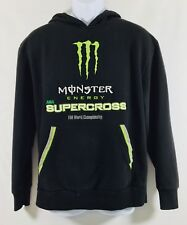 Monster Energy Mens size S Black Green Supercross Long Sleeved Hoodie