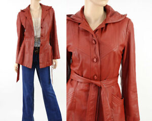 Vintage 70s HOODED Rust Brown Leather Belted Mini Trench Jacket Coat S small