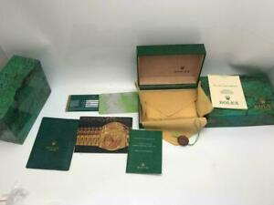 New ROLEX 1970's 1980's Datejust Watch Box Wood Case 68.00.55 Vintage Set