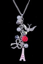 New Necklace with Eiffel Tower,Bird,Flower,Rose,Pearl,Crystal Pendants #N2487