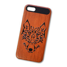 iPhone 7 Wood Style Design Case (Wolf) + Free Earbuds!