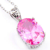 Engageme Jewelry Natural Pink Topaz Gemstone Silver Necklace Pendant With Chain