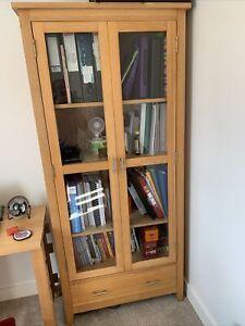 solid oak glass display cabinet