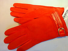NWT$145 Cole Haan Leather/Suede/Cashmere  Coral Gloves Size 7 Made In Italy