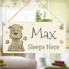 """Cute PET DOG segno """"DORME QUI"""" - Personalizzato DOG Kennel Letto Cane in Legno Segno"""