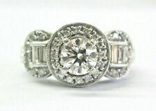 Round & Baguette Diamond Engagement Milgrain Ring .76Ct+ .50Ct G-VS2 GIA XXX 18K