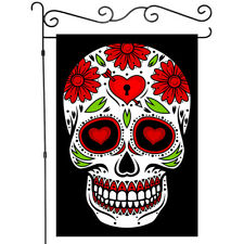 Welcome Gothic Skull Decor Garden Flag House Flags Yard Banner Double Side