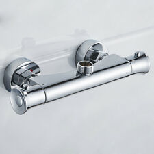 """Round Thermostatic Shower Valve Bar Mixer  Modern Chrome 3/4"""" Top Outlet Tap Hot"""