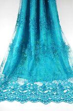 Premium Shiny Sapphire Thread & Bead Flower on Blue Wedding Bridal Lace Fabric