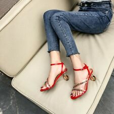 Womens Fashion Leather Diamante Ankle Strap Crystal Heel Beach Sandals Shoes SKG