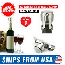 2 Pcs Stainless Steel Reusable Vacuum Sealed Champagne Wine Bottle Stopper Cap