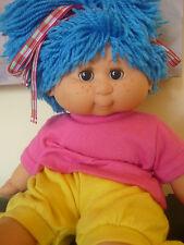 RARE VINTAGE 1980s MY DREAM BABY B.B DOLL BLINKING EYES BLUE YARN WOOL HAIR