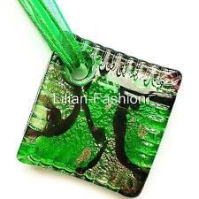 Silver Green Square Lampwork Glass Murano Bead Pendant Ribbon Wax Cord Necklace