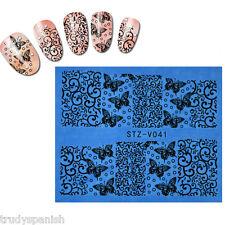 Nail Art Water Transfers Stickers Decals Black Flowers Butterflies Gel Polish 41