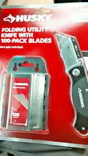 HUSKY Folding Utility Knife Set Grip lock-back 100-pack Blades * Free Shipping *