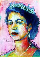 HAND SIGNED Painting QUEEN ELIZABETH Giclee Art Print England Crown Portrait