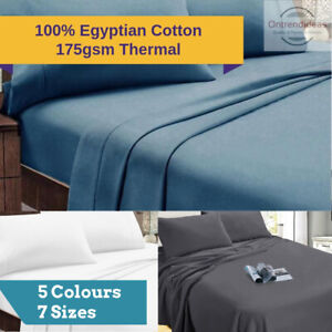 Ramesses 100% Egyptian Cotton Flannelette Sheet Set Winter Thermal 175GSM Sheets