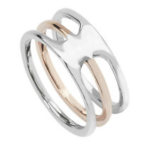 Sterling Silver Rose Gold Plated Wide Open Triple Row Band Ring SR232A