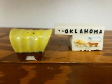 Mid Century Modern Oklahoma Covered Wagon Salt & Pepper Shakers made Japan