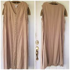 Vtg Dress womens 32W Maxi 90s Tan Embroidered boho 90s Grunge Rayon Sleeveless