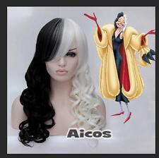 Women Cruella Deville Cosplay Wig Black White Synthetic Long Curly Wigs + Cap