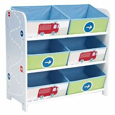 BOYS GENERIC VEHICLES BLUE 6 BIN STORAGE FOR TOYS BOOKS BEDROOM PLAYROOM NEW