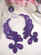 "0182 ~ PURPLE MIRROR PAIR SEQUIN BEADED APPLIQUES 6"" Sewing Crafts Motif Patch @"