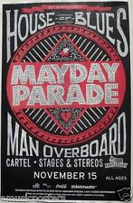 """MAYDAY PARADE / MAN OVERBOARD / CARTEL"""" 2013 TOUR"""" SAN DIEGO CONCERT POSTER -"""