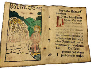 Early Incunabula Woodcut From A 15th Century Book Of Hours Medieval German