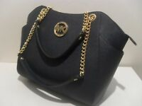 NWT Michael Kors Navy Saffiano Leather Jet Set Travel Chain Shoulder Tote Bag