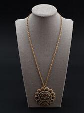 Damascene Geometric Round Pendant Necklace 12/20 GF Spain