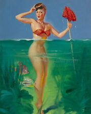 "GIL ELVGREN Pin-Up Poster or Canvas Print ""Surprise Catch"" Girl Fishing #80"