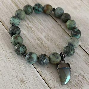 Min Favorit African Turquoise Stone Artisan Bracelet Labradorite Pendant Stretch