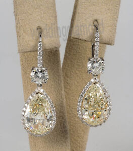 3.21 Ct Off White Pear Moissanite 925 Sterling Silver Lever Back Drop Earrings