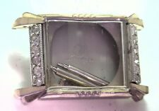 NOS Antique ID Watch Co 10k RGP Stainless Steel Rhinestone Wrist Watch Deco #1H