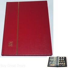 Lighthouse Hardcover Stamp Album Stockbook With 32 Black Pages, Red, LS4/16