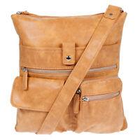 Handtasche Umhängetasche Cross-Over Bag Street Wildleder Optik Cognac Tasche Neu