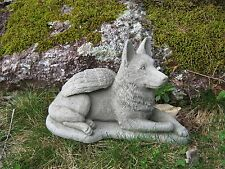 German Shepherd Dog Angel Concrete Statue Cement Gray Pet Memorial, Alsatian.